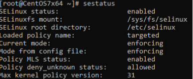 SELinux включен и использует политику enforcing